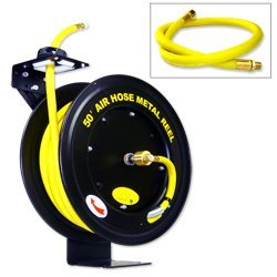 Hiltex 40270 Retractable Metal Air Hose Reel | Auto Rewind | 1/2'' x 50'