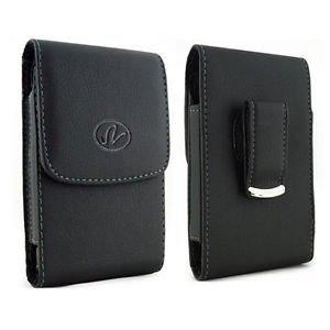 Laentina Black Leather Vertical Belt Clip Swivel Case Pouch Cover 4 Blackberry CURVE 9320