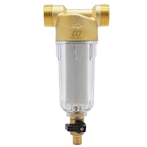 Water Prefilter Sediment Filter for Well Water Hose Sediment Filter Reusable Spin Down Sediment Water Filter - 40 Micron, 1