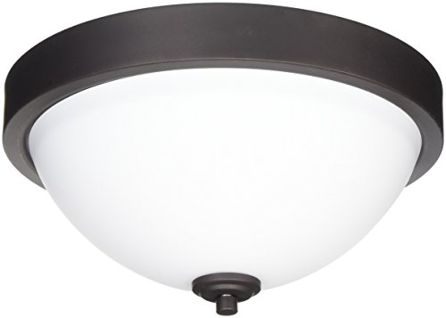 CANARM IFM578A13ORB River 2 Bulb Flush Mount Oil Rubbed Bronze with Flat Opal Glass