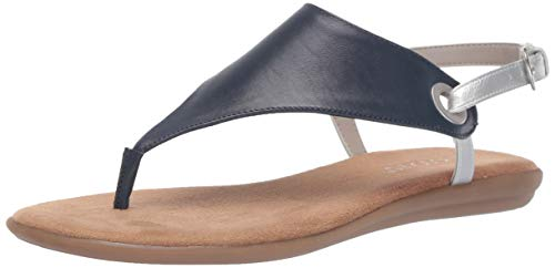 Aerosoles - Women's in Conchlusion Sandal - Leather Toe Strap Summer Flat Shoe with Memory Foam Footbed (5.5M - Navy Combo)