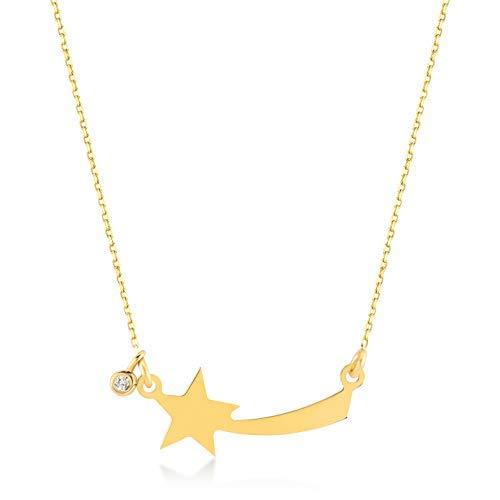 GELIN 14k Yellow Gold 0,01 ct Diamond Shooting Star Comet Pendant Necklace for Women, 18