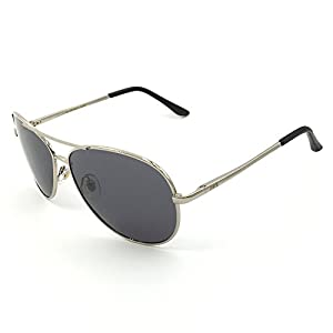 J+S Premium Military Style Classic Aviator Sunglasses, Polarized, 100% UV protection (Large Frame - Silver Frame/ray Lens)