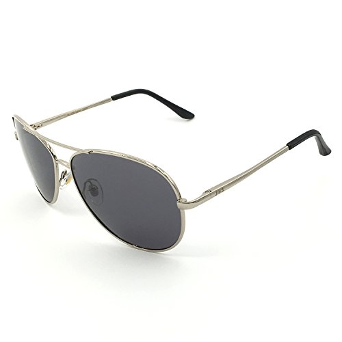 J+S Premium Military Style Classic Aviator Sunglasses, Polarized, 100% UV protection (Silver Frame Gray Lens - - Glasses Polarized Aviator