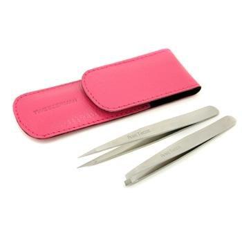 Tweezerman Other 2Pcs Petite Tweeze Set: Slant Tweezer + Point Tweezer - (With Pink Case) For Women