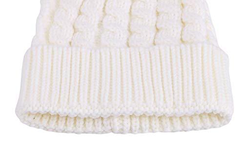 e60c015db Simplicity Men/Women's Winter Hand Knit Faux Fur Pompoms Beanie Hat White