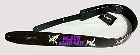 Correa para guitarra Sabbath negra, correa para bajo, tamaño ajustable, cinturón reciclado de cuero ecológico, unisex