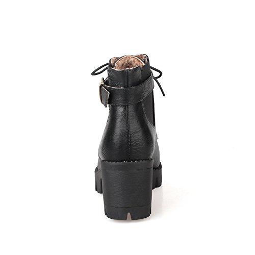 European Boots Style AdeeSu Leather Retro Imitated Outdoor Black Girls 5Hqw10CwU