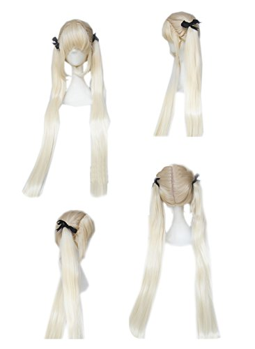 Price comparison product image Xcoser Blood Blockade Battlefront White Cosplay Long Straight Wig With Bunches