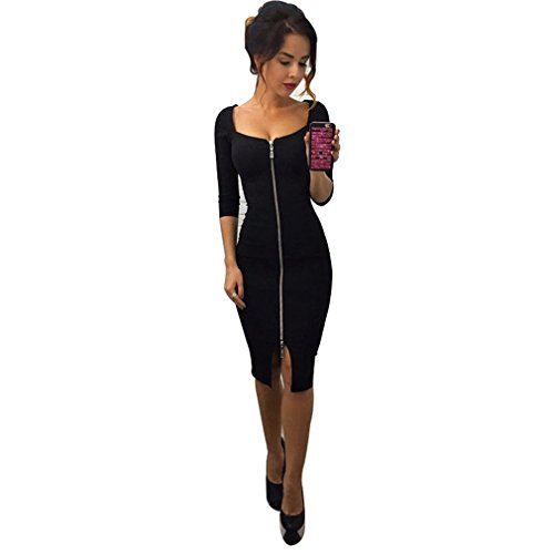 - GUAngqi Womens Sexy Dress Front Zip Sleeve Split Slit Cut Out Slim Fit Bodycon Midi Dresses,black