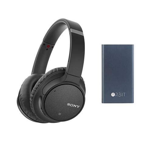 Sony WH-CH700N Wireless Noise-Canceling Over-Ear Headphones with Microphone, Full Size, Bluetooth and NFC, Black - with Orbit Powerbank Charger and Bluetooth Tracker Dark Storm