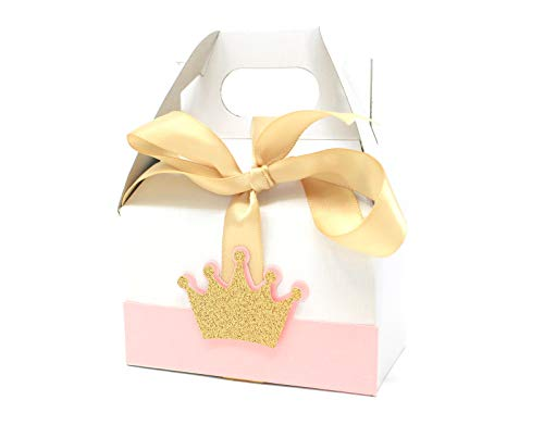 All About Details Princess Crown Theme Favor Box, 10sets, Gable Box, Party Decoration, Gift Box, Birthday, Baby Shower (Light Pink & - Theme Box Gable