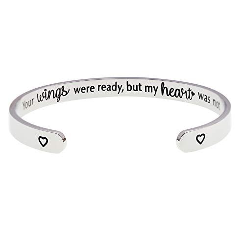 LParkin Your Wings were Ready But My Heart was Not Memorial Cuff Bracelet Commemorative Jewelry (Engraved Inside)