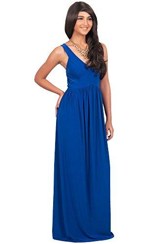 KOH KOH® La Mujer Vestido maxi de verano sin mangas Azul Cobalto