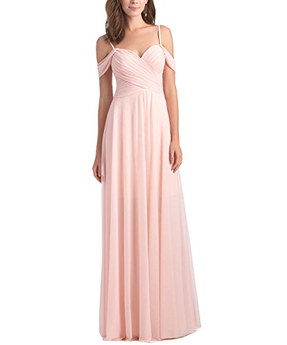 Pink Corset Dress (Geshun Chiffon Off The Shoulder Ruched Blush Bridesmaid Dresses Long Formal Prom Dress For Women US18W)