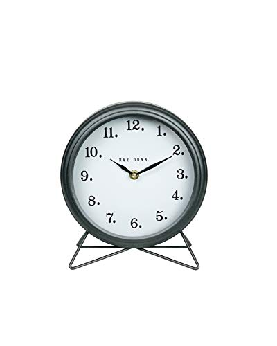 Rae Dunn Desk Clock - Battery Operated Round Modern Rustic Design, Top Handle for Bedroom, Office, Kitchen - Small Classic Analog Display - Chic Home Décor for Desktop Table, Countertop