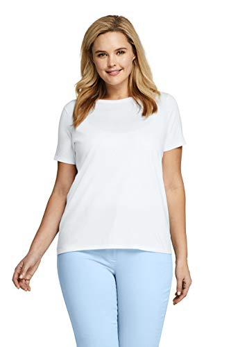 Lands' End Women's Plus Size Supima Cotton Short Sleeve T-shirt - Relaxed Crewneck - Tee Solid Crew Neck