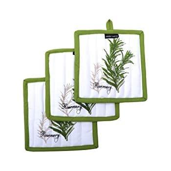 Amour Infini Pot Holders, Unique Herb Garden Design, Pot Holders Heat Resistant, 100% Cotton, Set of 3, Pot Holder size 8 x 8 inches