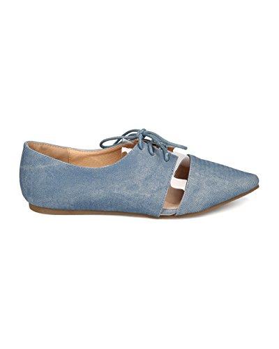Blue Women FA80 Flat Up Lace Leatherette Denim Pointy Lucite Toe SpZOgqS