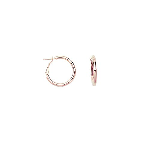14k Rose Gold 3x20 Plain Hoop Earrings Omega Clip by JewelryWeb