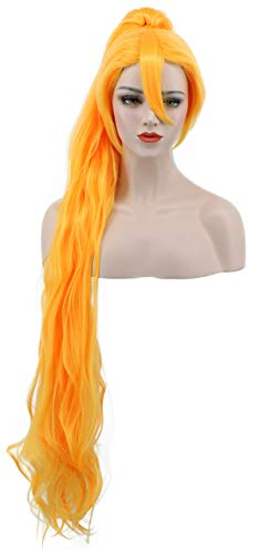 Karlery Women's Girl Long Curly Orange and Gold Wig Clip In Thick Claw Drawstring Ponytail Halloween Costume Wig Anime Cosplay Wig (Gold) -