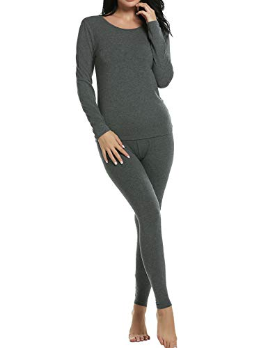 Ekouaer Long Johns Set Womens Soft Modal Light Weight Thermal Underwear Pjs (Gray,XL)
