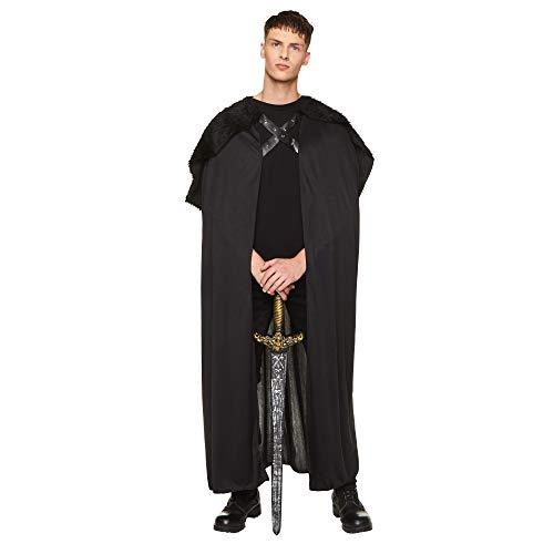 Black Faux Fur Cape Cloak, Adult Medieval