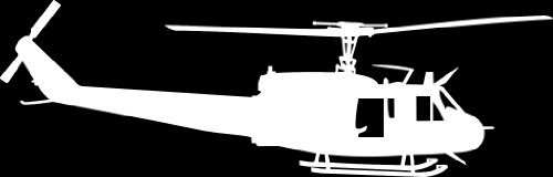 Huey UH-1 Helicopter Vinyl Decal v1 2.5x8 Inch White