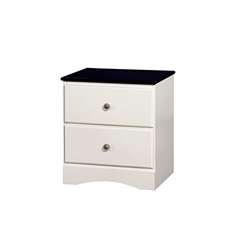 HOMES: Inside + Out Beller Transitional 2-Drawer Nightstand, Blue & White