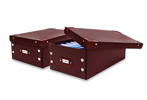 Smart Design Media Storage Box w/ Lid - for Storing Videos, Photographs, Cassette Tapes, DVDs - Home Organization (12.6 x 5 Inch) (Set of 2) [Brown]