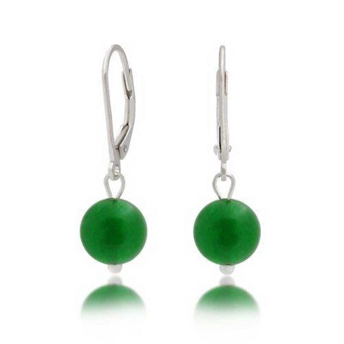 .925 Silver Leverback Dyed Aventurine Bead Dangle Earrings