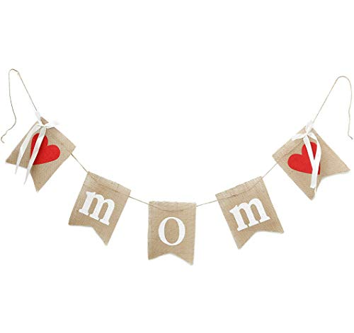 (dealzEpic - Rustic MOM Burlap Banner with Red Hearts and Silk Ribbons for Mother-to-be / New Mom / Mom's Birthday Celebration Decoration or Photo Prop - 76 Inches)