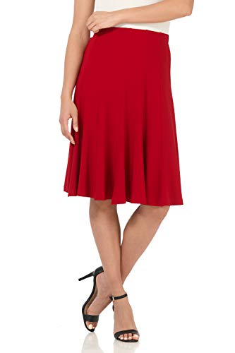 Rekucci Women's Ease into Comfort Flared Knee Length Knit Skirt (Large,Cherry) ()