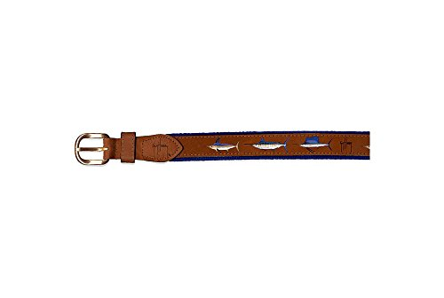 Guy Harvey Leather Belts - Offshore Slam - Size 46 - Navy Blue