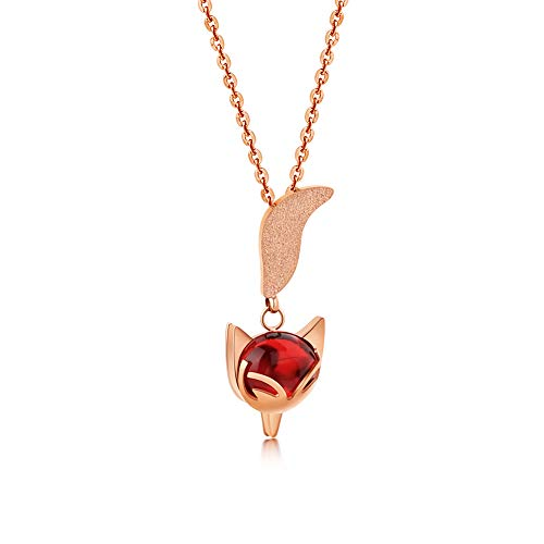 Fox Rose Necklace - QingFox Women 18K Rose Gold Necklace Fox Style Pendant Chain Agate Tungsten Carbide Christmas Jewelry Gift 16-18 Inch