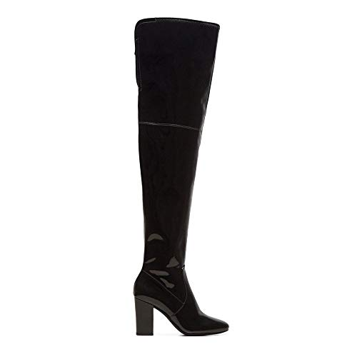 Kenneth Cole New York Women's Angelica Thigh-High Heeled Boot Over The Knee, Black Patent, 6.5 M US ()