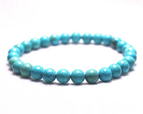 (Wholesale Natural 6mm Turquoise Howlite Bracelet,Jewelry Bracelet,Gift Bracelet Wholesale.Gemstone Beaded Stretch Bracelet 6mm Round Beads 7.2