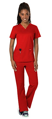 - Cherokee Workwear Revolution Women's Medical Uniforms Scrubs Set Bundle - WW620 V-Neck Scrub Top & WW110 Elastic Waist Scrub Pants & MS Badge Reel (Red - Small/XSmall Tall)