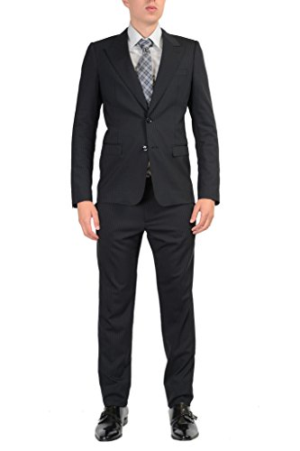 Dolce & Gabbana Wool Black Striped Two Buttons Suit US 42 IT 52; ()