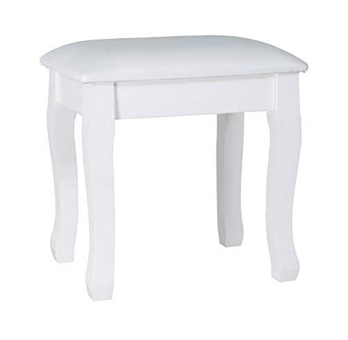 Facilehome Wooden Dressing Vanity Stool Makeup Stool Makeup Chair Bench with Cushion Piano and Solid Wood Legs Seat Chair (White)