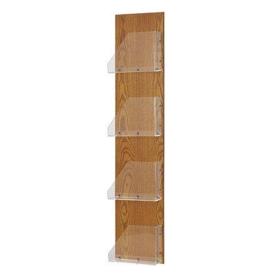 (Buddy Products Princton Line Wood Back and Acrylic Pocket Magazine Rack, 4 Pockets, 3 x 51 x 11 Inches, Medium Oak Finish (0655-11) )