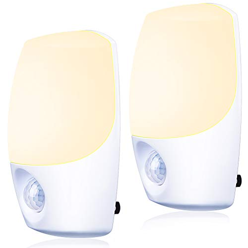 Motion Sensor Light, Emotionlite Plug in Night Lights, Warm White LED, Motion-Activated Nightlight, Hallway, Bathroom, Stairs, Kitchen, Garage, Corridor, Basement, Energy Efficient, UL Listed, 2 Pack
