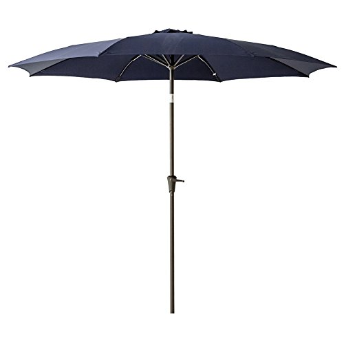 FLAME&SHADE 11' Outdoor Market Patio Umbrella with Crank Lift, Fiberglass Rib Tips, Push Button Tilt, Navy Blue