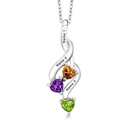 Gem Stone King Build Your Own Pendant - Personalized 3 Stone Heart Shape 925 Sterling Silver Pendant