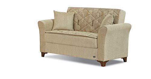 BEYAN LS Main Ave Mid Century Modern Fabric Convertible Loveseat with Storage, 68