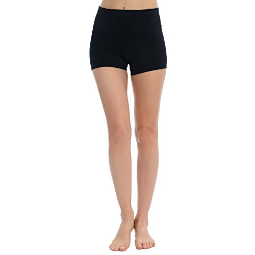Anza Collection Anza Womens High Waist Dance Booty Shorts-Black,Small