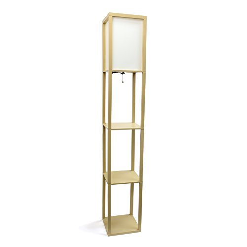 Unadorned Designs Home LF1014-TAN Floor Lamp Organizer Storage Shelf with Linen Shade, Tan