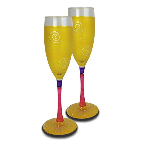 Golden Hill Studio Champagne Flute Glasses Hand Painted in the USA by American Artists-Set of 2-Frosted Curl Dot Yellow Collection (Hand Glass Painted Champagne Frosted)