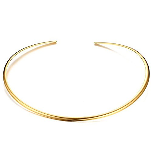 JAJAFOOK Minimalist Round Gold Bar Necklace Simple Fashion High Neck Choker Female King Neckwire