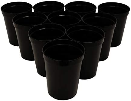 CSBD Stadium 16 oz. Plastic Cups, 10 Pack, Blank Reusable Drink Tumblers for Parties, Events, Marketing, Weddings, DIY Projects or BBQ Picnics, No BPA (Black) 1